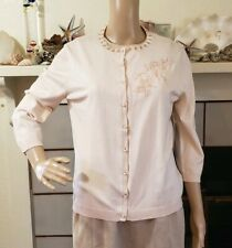 NWT August Silk Women's Cardigan Size L Petite Soft Pink Beaded 3/4 Sleeves
