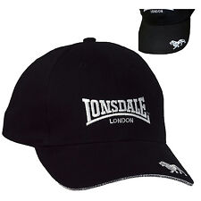Lonsdale Premium Black Baseball Cap Hat Embroided Logo Cotton Adjustable Size