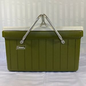 Vintage 1970s Coleman Picnic Style Cooler/Ice Chest Metal Folding Handles Green