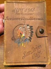 Antique 5 Year Diary Journal 1938 - 1943 Barbara Jean Norwood, San Diego, Native