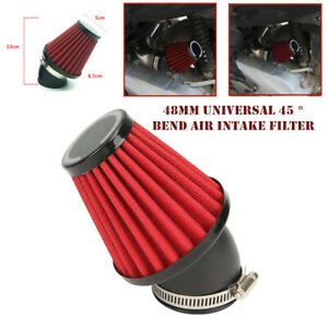 48mm Motorcycle ATV 45° Elbow High Air Intake Filter Bend Cone Tuning Cleaner