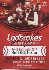 Snooker Ladbrokes World Grand Prix Flyer 2017. Signé par Martin GOULD.