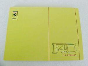 Ferrari F40 Owners Manual Use_Maintenance 606/90 US Version 1990 OEM
