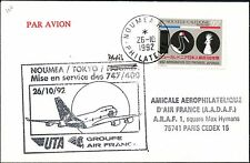 1ER VOL FIRST FLIGHT AIR FRANCE NOUVELLE CALEDONIE NOUMEA TOKYO JAPON 1992