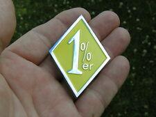 ~ 1%er EMBLEM Yellow & Chrome Metal Badge HIGH QUALITY Bike suit HARLEY-DAVIDSON