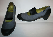 CAMPER Slate Blue Woven Mary Jane Pumps Shoes Rubber Heel Elastic Top 40 9.5 10