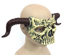 Deluxe LATTICE Horned TESCHIO RAM MASK COSPLAY HORROR HALLOWEEN COSTUME DIAVOLO Bone