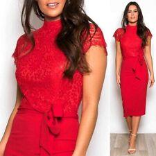 Womens Ladies Lace Tie Belt Midi Dress 10 12 14 16 Wedding Party Dress