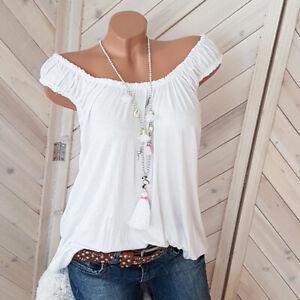 off Shoulder Top Weiß mit Raffung BASIC Shirt Gr. 38 40 42 one Size H11