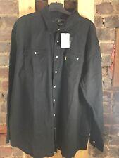 Duke London Western L/S Shirt ~ Black ~ 2XL ~ NEW