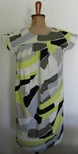 VERONIKA MAINE ~ Yellow Black Khaki Geometric Cotton Short Slv Shift Dress 8