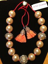 NWT BETSEY JOHNSON BOAT HOUSE Statement Necklace Pearl Sea Coral Crystal $125
