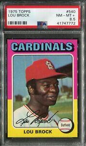 1975 Topps #540 Lou Brock PSA 8.5 NM-MT+