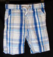 Boys Debenhams Blue White Check Drawstring Waist Cotton Board Shorts Age 6 Years