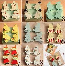 20 pcs Cartoon mixed Wood Brooch Pins Safety Pins Bag Decoration Brooches gifts