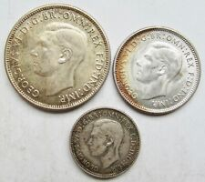 Australia WWII 1943-S Florin 1944-S Shilling 1942-S Sixpence San Fransisco Mint