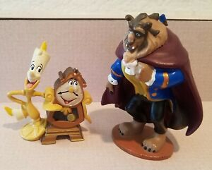 Disney Parks Beauty & The Beast Figures Cake Toppers Lumiere & Cogsworth & Beast