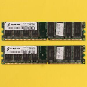 1GB StarRam 2x 512MB DDR DDR-400 PC3200 DDR1 Desktop 184Pin RAM Memory *TESTED*