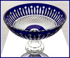 COBALT BLUE Centerpiece Console Compote CUT TO CLEAR Lead CRYSTAL Germany TOMMY