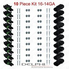 Delphi Weather Pack 2 Pin Sealed Connector Kit 16-14 GA !!!10 COMPLETE KITS!!