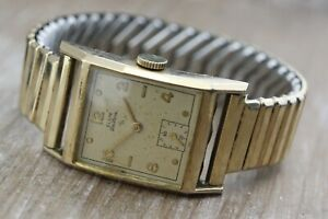 Vintage Elgin De-luxe Art Deco 14ct Gold Plated Mens Windup Watch