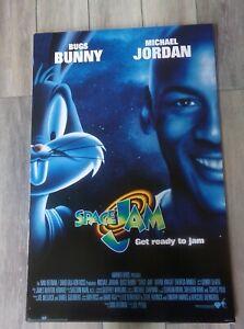 🔥 1993 Original Movie Display Space Jam MICHAEL JORDAN BUGS 24 X 36 RARE