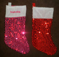 PERSONALISED EMBROIDERED DELUXE CHRISTMAS XMAS  STOCKING WITH NAME PINK OR RED