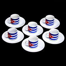 Tazas Cafe Cubano Espresso 2 Oz Coffee Cuban Flag Cups Set 12 Pieces Metal Rack