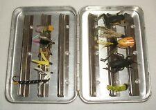 Vintage Aluminum L.L.Bean Perrine #66 Fishing Fly Box with Flies Ll