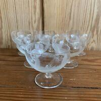 Vintage Etched Glass Sundae Glasses Dessert Trifle Bowls
