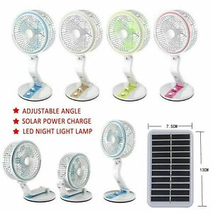 180° Solar Powered Portable Fan Desk Cooling USB Fan Cell Cooler Outdoor + Light