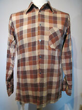 Vintage Mens Brown Checked Shirt - M
