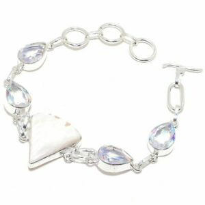 "Scolecite & Mystic Topaz Gemstone 925 Sterling Silver Bracelet Jewelry 7.99"" M31"