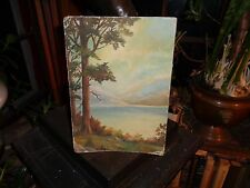 V.Poague: Lone Pine At The Lake: c1880,Oil/board painting: Very well done-WOW
