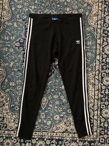 Adidas Originals Black Leggings 3 Stripes High Waisted Size 16UK VGC Comfy Sport