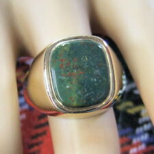 9 ct GOLD  second hand large gents bloodstone ring