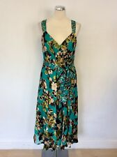 MONSOON EMERALD GREEN FLORAL PRINT SILK BLEND SPECIAL OCCASION DRESS SIZE 14