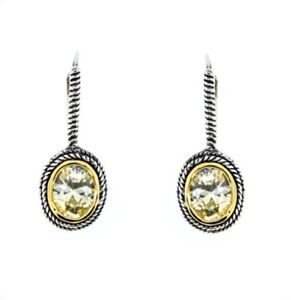 Designer Style Yellow Oval CZ Two Tone Silver Gold BALINESE Hoop Earrings