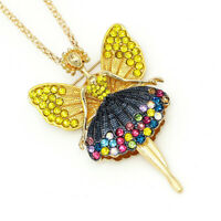 Colorful Crystal Ballet Girl Fairy Angel Pendant Betsey Johnson Necklace/Brooch