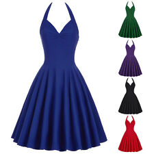 Women Vintage 50s 60s Retro Pinup Swing Halter Cocktail Party Evening Prom Dress