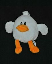 Peluche doudou canard poussin AJENA bleu orange grelot 14 cm NEUF