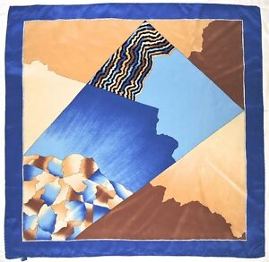 """Fashion ABSTRACT Geometric PATCHWORK Brown BEige BLUE Crepe Silk 28"""" SCARF"""
