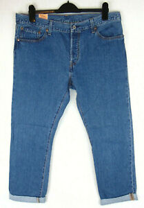 Levi 501CT Women Denim Blue Jeans Tapered Leg Leather Patch Cropped 32W 32L