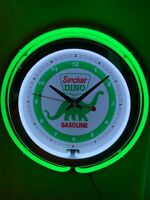 Sinclair Dino Oil Gas Service Station Garage Man Cave Green Neon Clock Sign