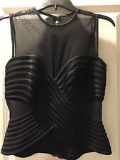 TADASHI Sheer Embroidered Bodycon Top BLOUSE Size L Large 12 Black