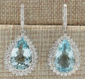 6.50 Ct Pear Cut Aquamarine Diamond  Drop/Dangle Earrings 14K White Gold Finish.