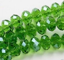 Diy Jewelry 100pc 4*6mm Faceted Rondelle glass crystal Beads green