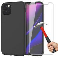 Lot Verre Trempé Film protection pour iPhone 11 Pro Max + Coque Silicone