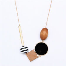 Gold Tube Wood Beads Geometric Element Minimalist Simplistic Cos Style necklace