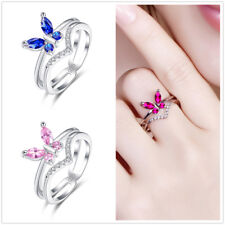 Butterfly Fashion Jewelry Pink White Topaz Ruby & Sapphire Gemstone Silver Ring